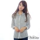 Victoria 印紋直條長袖襯衫-女-藍條
