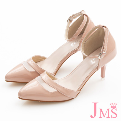 JMS-時尚鏤空尖頭漆皮繫帶中跟涼鞋-粉色