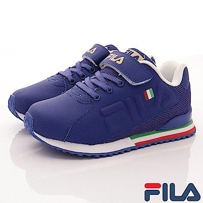 FILA頂級童鞋 義式簡約慢跑款410S-329藍(中大童段)