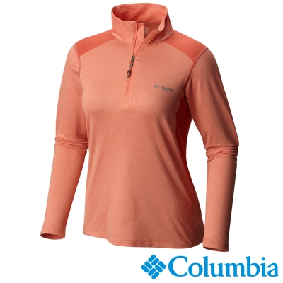 【Columbia哥倫比亞】女-鈦 酷涼快排立領長袖上衣-橘紅 UAL54180AH