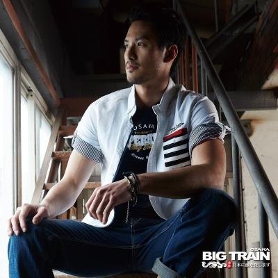BIG TRAIN 配條素色牛津襯衫-男-白色