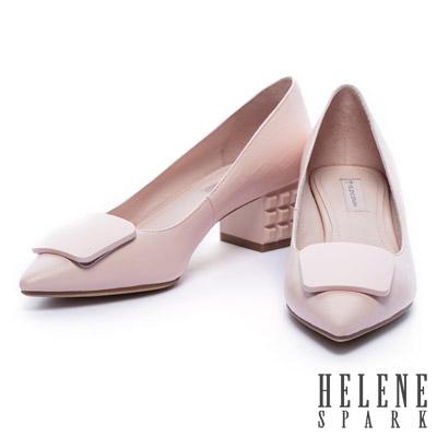 高跟鞋-HELENE-SPARK-烤漆立體造型粗跟格紋牛皮造尖頭高跟鞋-粉