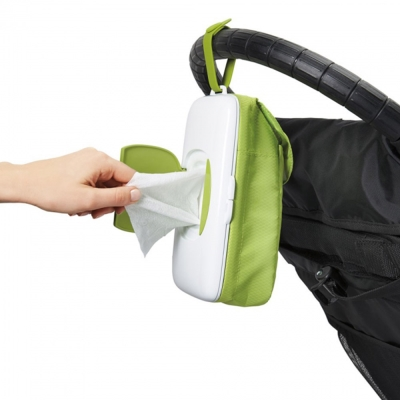 OXO 美國 綠色攜帶型可掛嬰兒車尿布收納濕紙巾收納盒