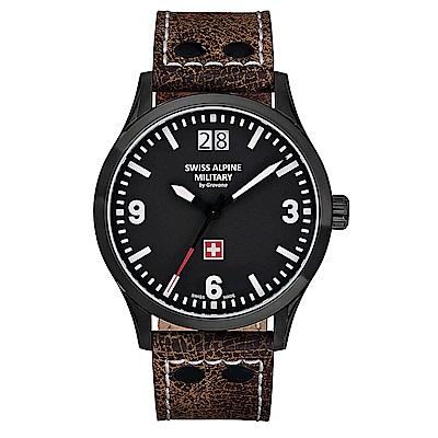 阿爾卑斯 S.A.M -獨家限定-空戰系列-黑錶殼/黑錶盤/皮帶/43mm