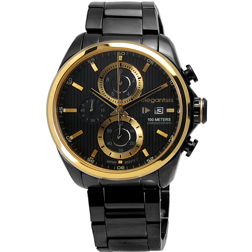 elegantsis 男仕時尚洗鍊感設計三環不鏽鋼腕錶-金x黑/45mm