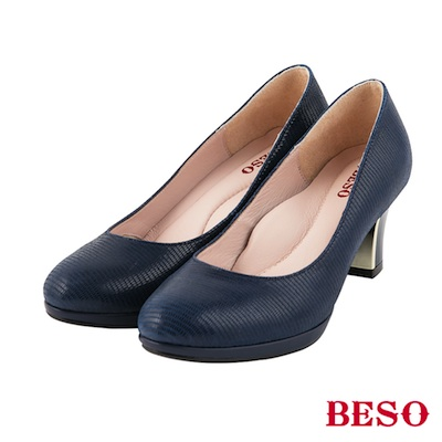 BESO時髦女郎 素面圓頭全真皮粗跟金屬跟鞋~藍
