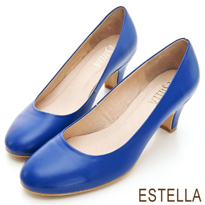 ESTELLA-MIT小牛皮純色經典低跟鞋-深藍
