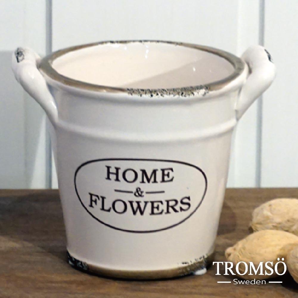 TROMSO-南法鄉村陶瓷收納罐-雙耳水桶咖