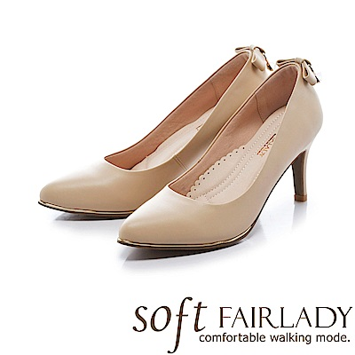 Fair Lady soft芯太軟 浪漫蝴蝶結方鑽尖頭高跟鞋 卡其
