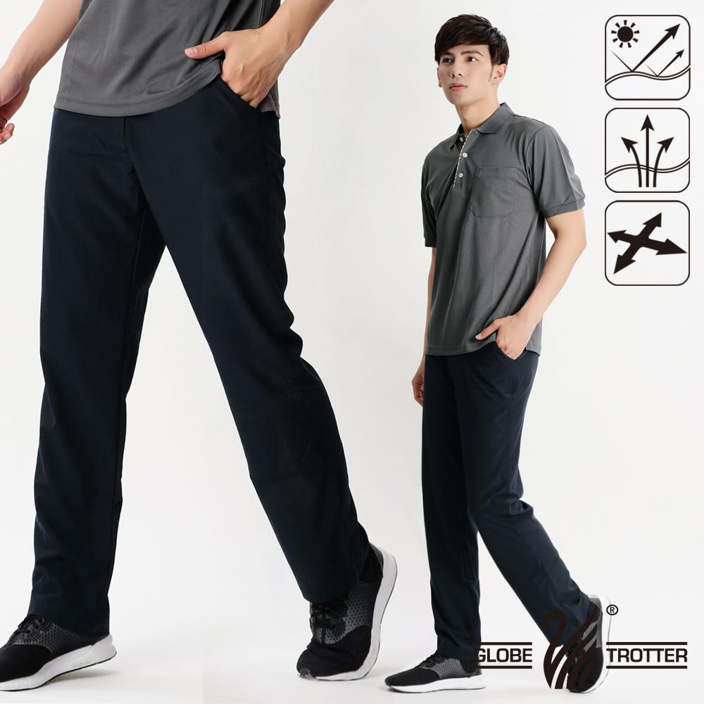 【遊遍天下】男款涼爽超顯瘦彈性吸濕排汗抗UV長褲P131丈青