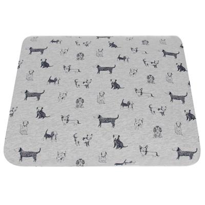 Yvonne Collection手繪狗狗印花雙人超值四件式四季被床包組-中灰