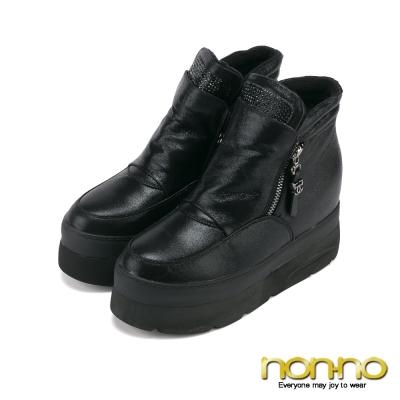 nonno-簡約輕盈雙拉鍊休閒鞋-黑