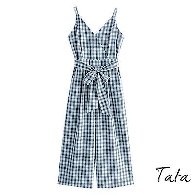 八分吊帶格紋連身寬褲(配腰帶) TATA