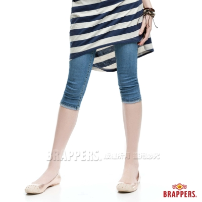 BRAPPERS 女款 新美腳Royal系列-女用彈性七分反摺褲-淺藍