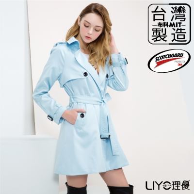 LIYO理優3M防潑水MIT長版寬鬆風衣(淺藍色)