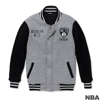 NBA-布魯克林籃網隊繡花鋪棉撞色棒球外套-麻灰色(男)