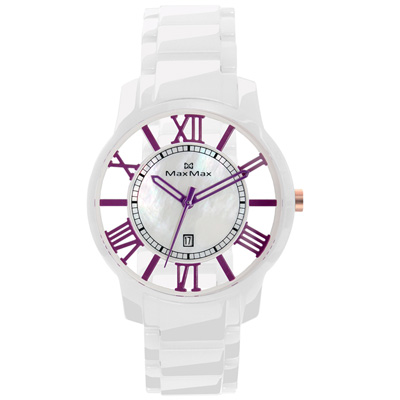 Max Max 巴塞隆納浪漫風情陶瓷腕錶-紫X白/39mm
