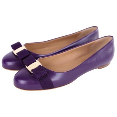 Salvatore Ferragamo VARINA 蝴蝶結飾牛皮娃娃鞋(紫色)