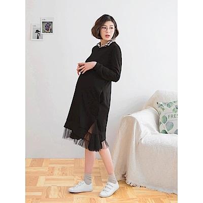 網紗拼襬雙口袋素色洋裝-OB大尺碼