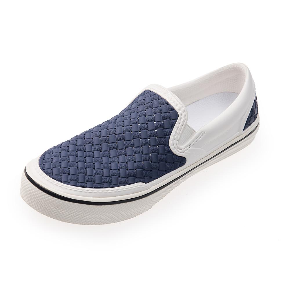 (男/女)Ponic&Co美國加州環保防水編織懶人鞋-藍白