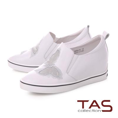 TAS蝴蝶刺繡內增高運動休閒鞋-時尚白