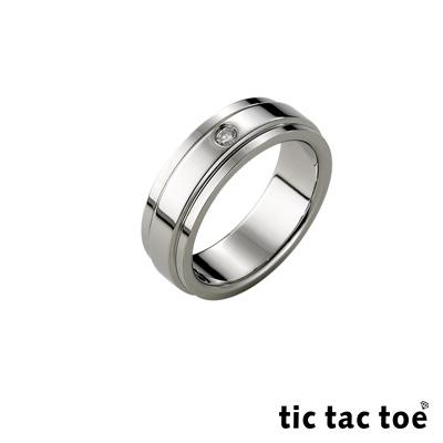 tic tac toe 簡單愛白鋼女戒指