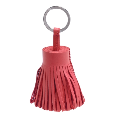 HERMES 流蘇造形山羊皮鑰匙圈手袋吊飾(鮭粉紅)