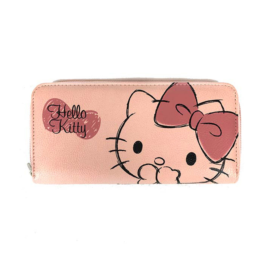 Sanrio HELLO KITTY合成皮革手繪大臉拉鍊長皮夾(粉)