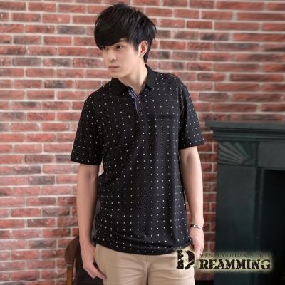 Dreamming  日系滿版點點口袋棉質短POLO衫-共三色