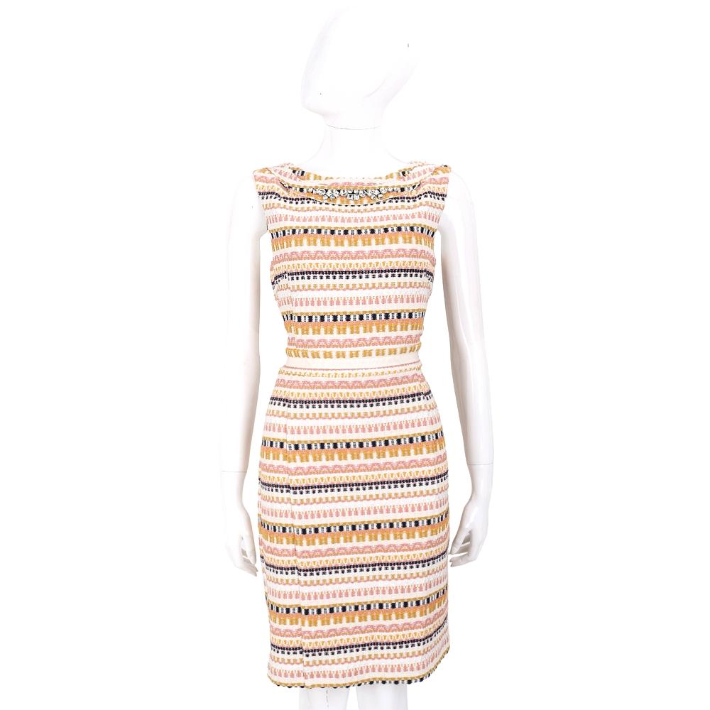 BLUGIRL 多彩織紋鑽飾背心洋裝