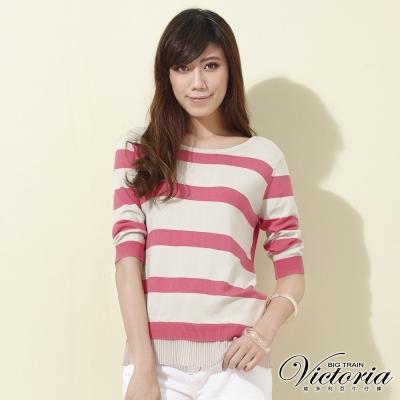 Victoria 二面穿條紋雪紡七分袖線衫-女-粉米條