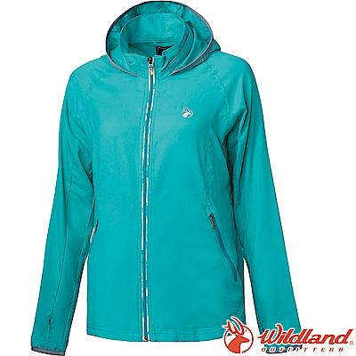 Wildland 荒野 0A61901-67湖水綠 女彈性抗UV輕薄外套