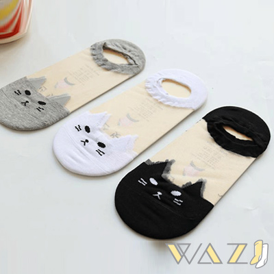 Wazi-透膚小貓水晶短絲襪踝襪 (1組三入)