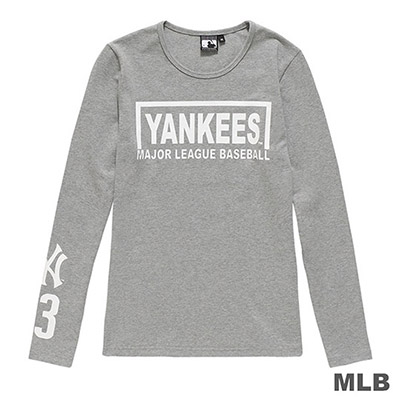 MLB-紐約洋基隊英文印花長袖T恤-麻灰 (女)