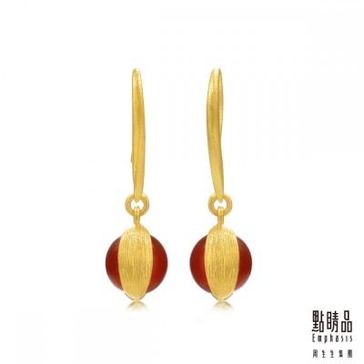 點睛品Emphasis 黃金耳環- g* collection -純金瑪瑙耳環