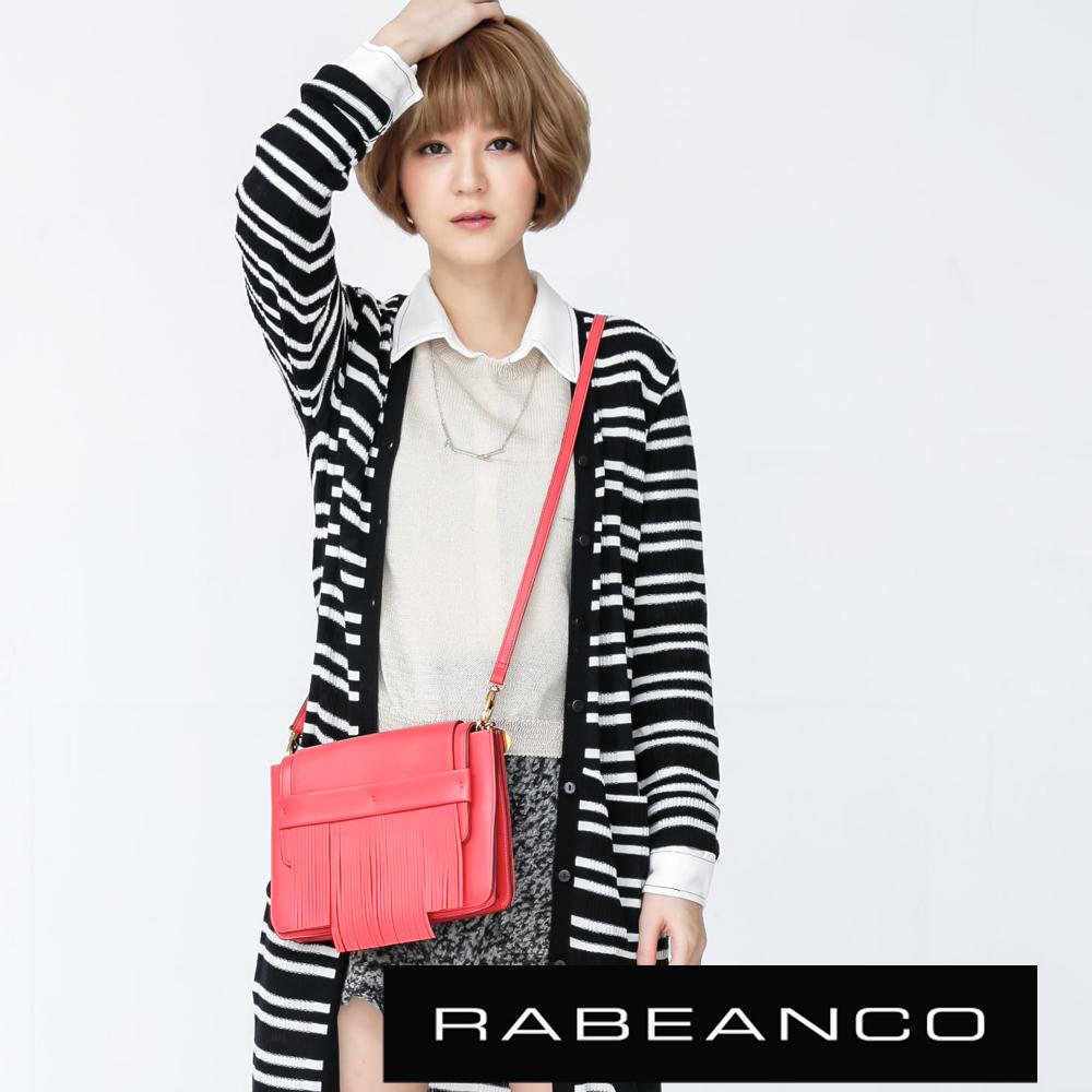 RABEANCO 迷時尚羊皮系列流蘇多分層斜背包 紅