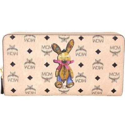 MCM Rabbit 兔子印花圖騰拉鍊長夾(裸色/內裡粉色)