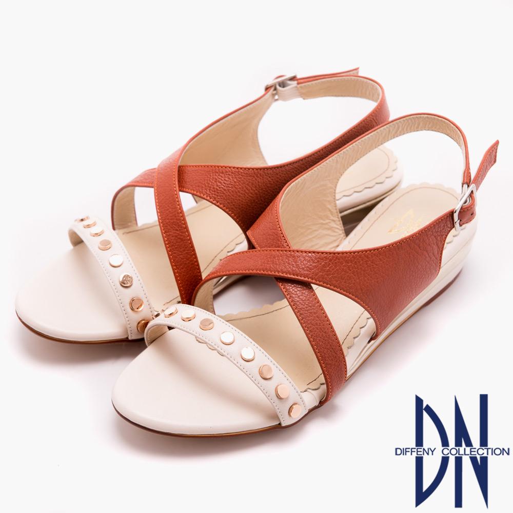 DN 無印好感 簡單鑲釘素面交叉平底涼鞋-橘