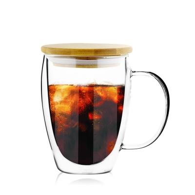日系FUSHIMA 雙層耐熱玻璃杯350ML-把手(附專屬竹蓋)