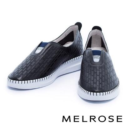休閒鞋 MELROSE 運動風配色織帶全真皮厚底休閒鞋-黑