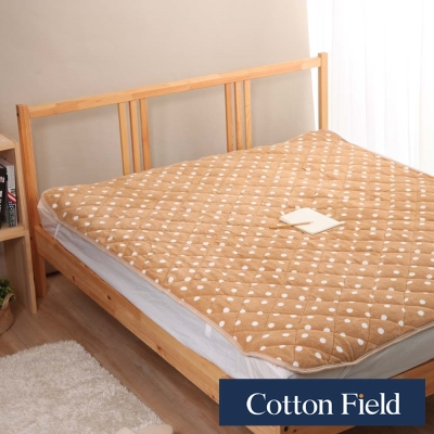 棉花田 暖點 超細纖維時尚印花雙人加大保暖墊 淺褐色