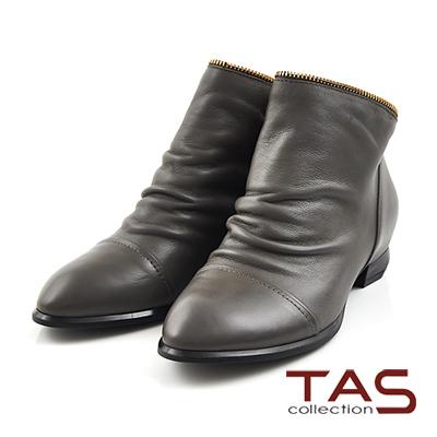 TAS-後V造型拉鍊牛皮抓皺低跟短靴-微醺灰