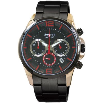 Audrey 歐德利 躍動時尚三眼計時腕錶(AUGM5635-A)-黑x紅指針/42mm