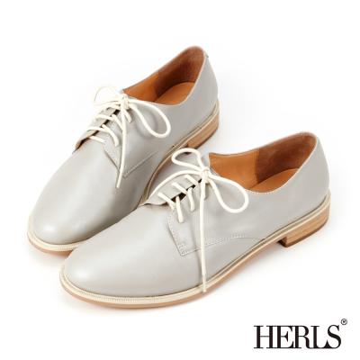 HERLS-全真皮簡約綁帶牛津鞋-淺灰色