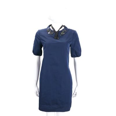 MAX MARA-'S Max Mara 藍色中鑽飾領設計短袖洋裝