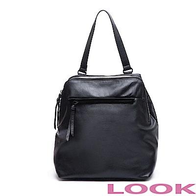 LOOK-Patricia派翠西亞- 真皮2way後背包-時尚黑
