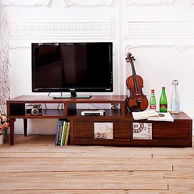 澄境 原木質感雙格大抽屜旋轉電視櫃106-202X39X40cm
