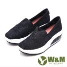 W&M BOUNCE厚底增高休閒鞋 女鞋-黑(另有日系藍、藍)