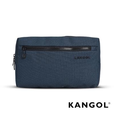KANGOL 韓國經典側背休閒包/學生包/情侶包-混織藍 KG1152