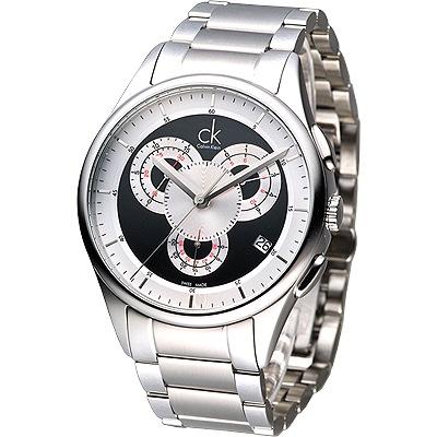 cK basic 重裝搖滾風3眼計時腕錶-黑/43mm